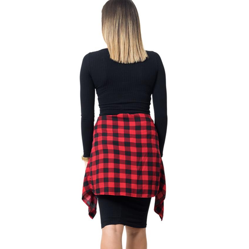 Klamko Kleid mit Holzfällerjacke, schwarz/rot